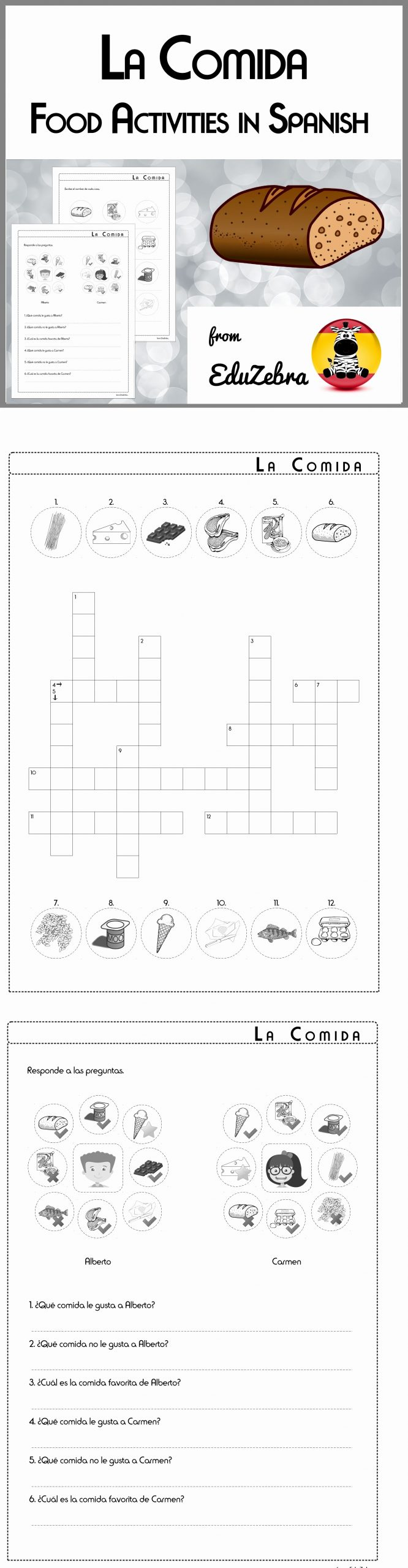 Cooking Worksheets for Middle School Lovely Food In Spanish La Ida Activity Pack with Images