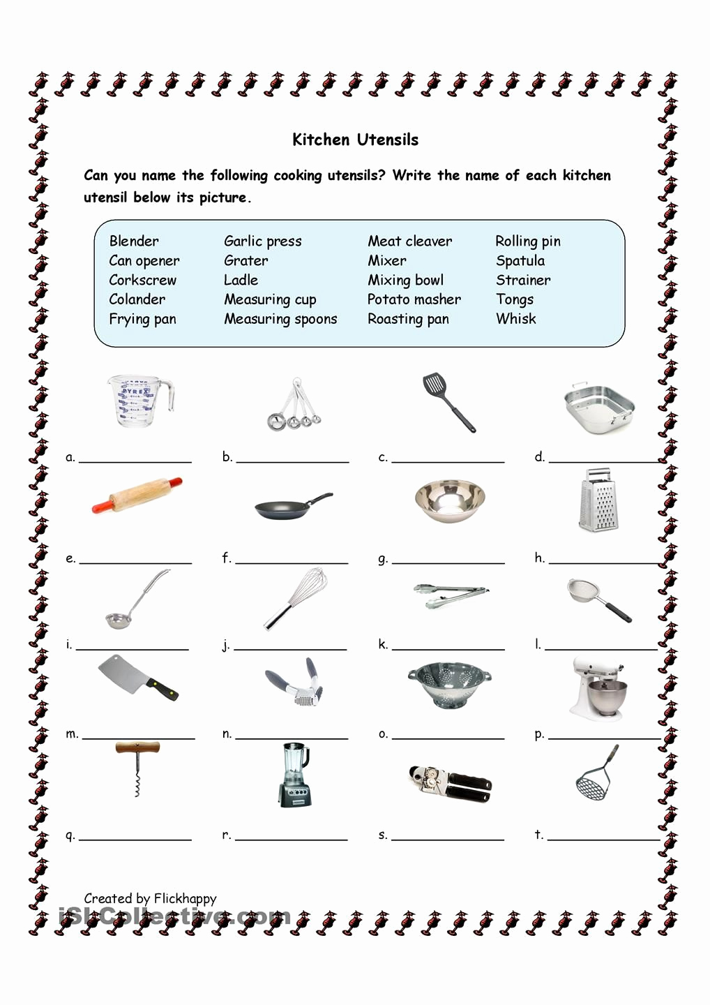 Cooking Worksheets for Middle School New Kitchen Utensils Facs Pinterest