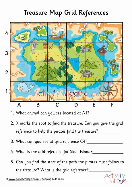 Coordinate Grid Map Worksheets Beautiful Treasure Map Grid Reference Worksheet