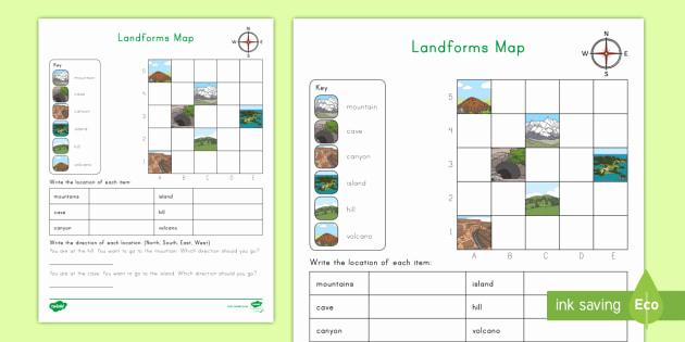 Coordinate Grid Map Worksheets Lovely Landform Coordinates Map Grid Worksheet for Kids