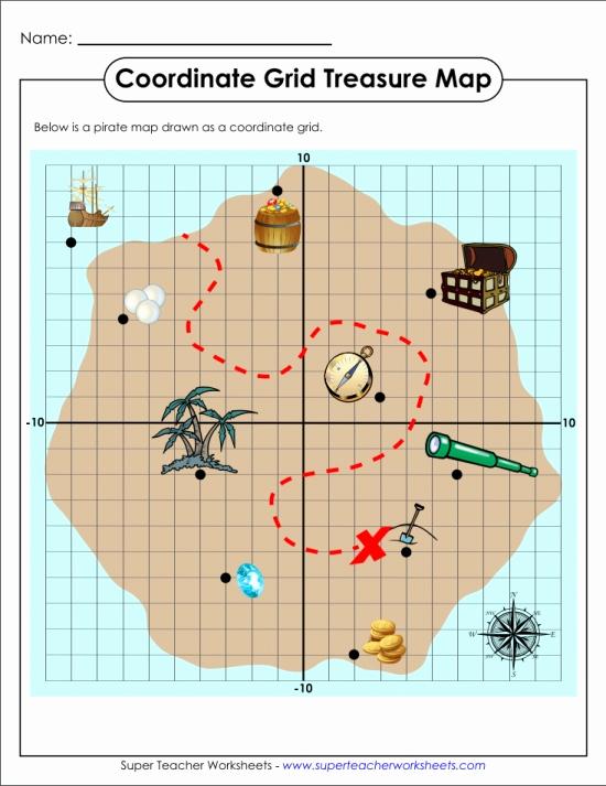 Coordinate Grid Map Worksheets New Treasure Map Coordinate Grid