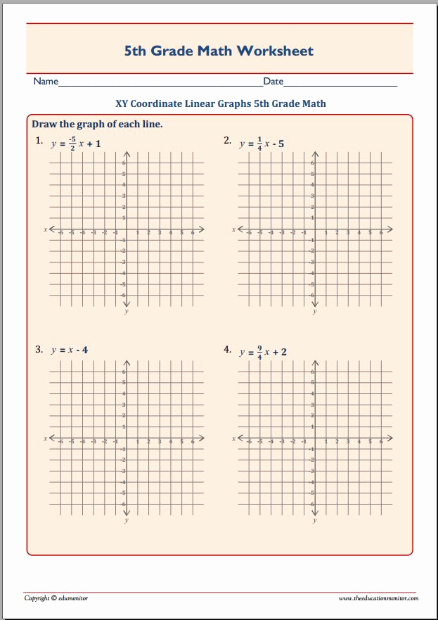 Coordinate Grids Worksheets 5th Grade Beautiful Xy Coordinate Linear Graphs 5th Grade Math Edumonitor
