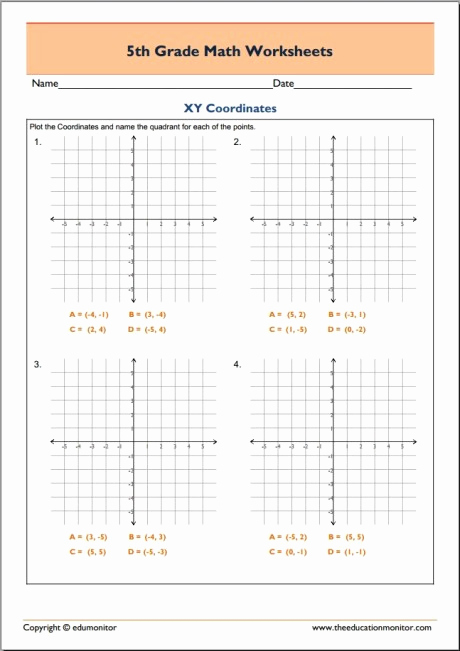 Coordinate Grids Worksheets 5th Grade Luxury Free 5th Grade Math Worksheets In Pdf Xy Coordinates