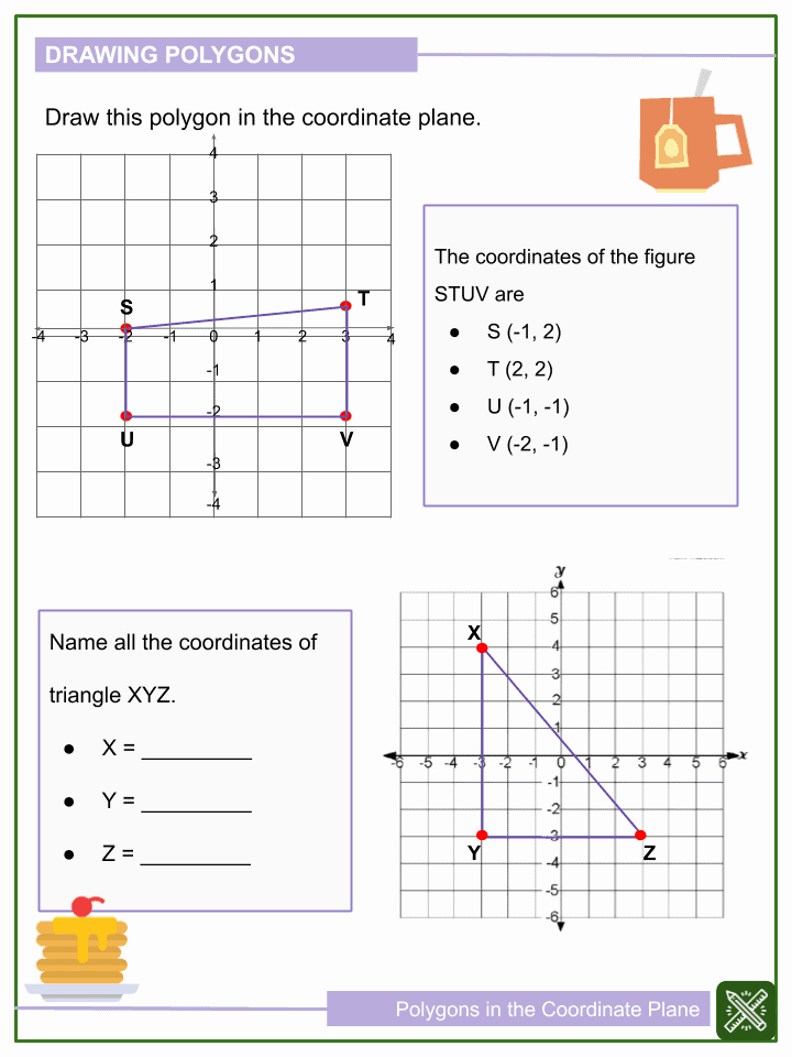 Coordinate Pictures Worksheet Awesome Polygons In the Coordinate Plane 6th Grade Math Worksheets