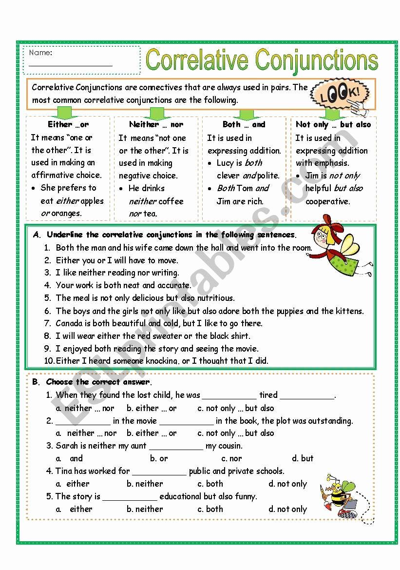 Correlative Conjunctions Worksheet 5th Grade Beautiful 20 Correlative Conjunctions Worksheet 5th Grade