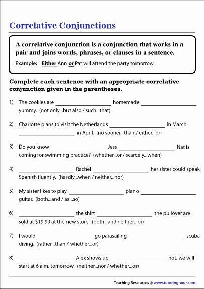 Correlative Conjunctions Worksheet 5th Grade Fresh Correlative Conjunctions Worksheet