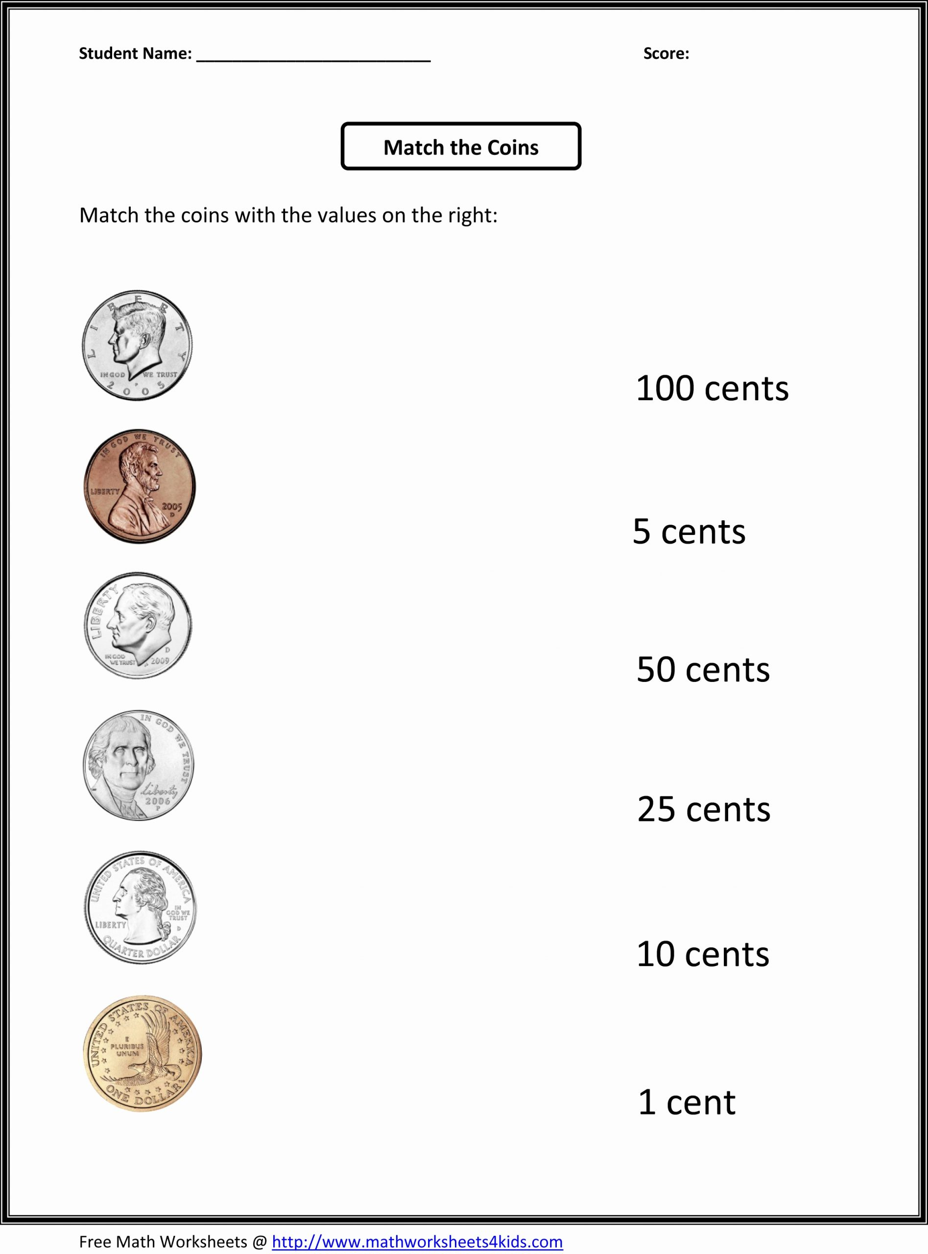Counting Coins Worksheets First Grade Lovely Counting Coins Value Us 1 Dollar Worksheets Printable