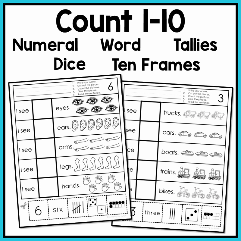 Counting Cut and Paste Worksheets Awesome Free Errorless Cut and Paste Math Worksheets Counting 1 10