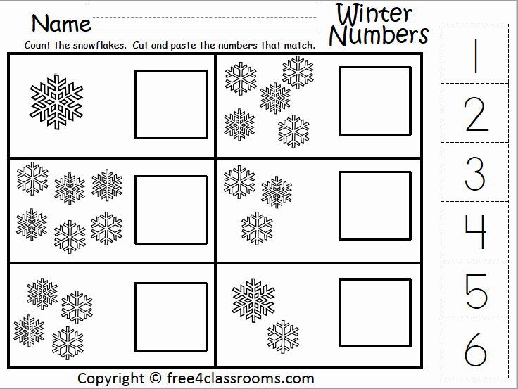 Counting Cut and Paste Worksheets Awesome Free Winter Math Numbers Cut and Paste 1 to 6