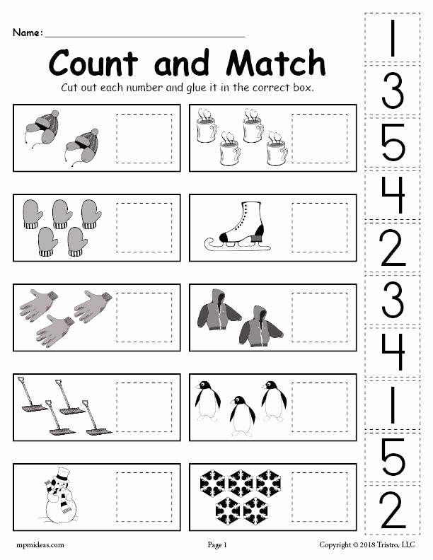 Counting Cut and Paste Worksheets Beautiful Printable Winter Counting and Matching Cut and Paste