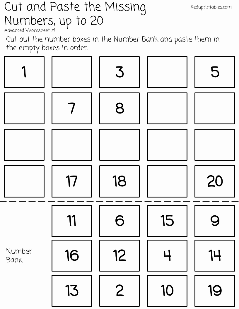 Counting Cut and Paste Worksheets Best Of Cut and Paste Missing Numbers Up to 20 – Eduprintables