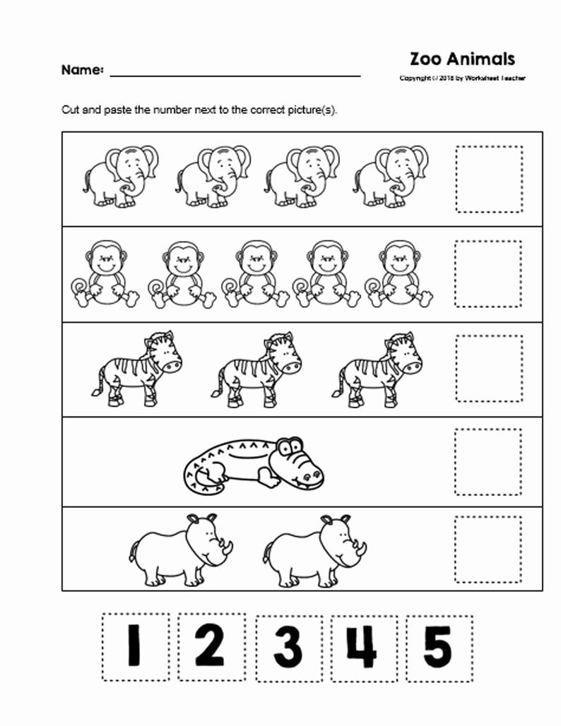 Counting Cut and Paste Worksheets Elegant 30 Cut and Paste Numbers 1 5 B&w Preschool Worksheets