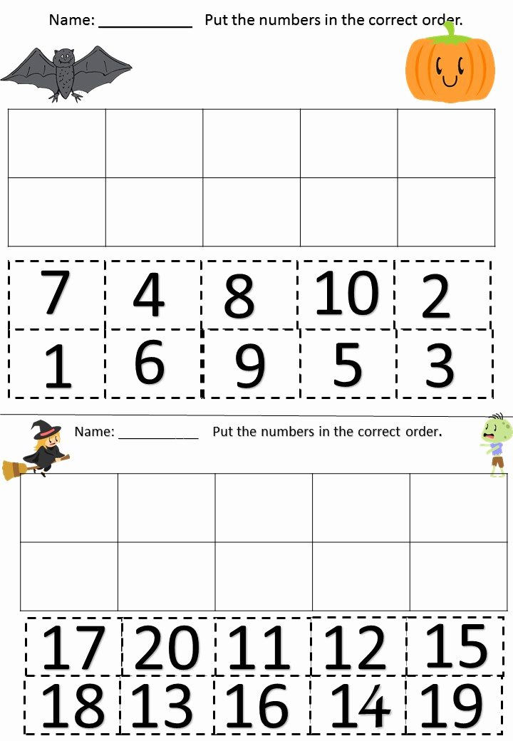 Counting Cut and Paste Worksheets Elegant Halloween Cut & Paste Number Recognition & Writing