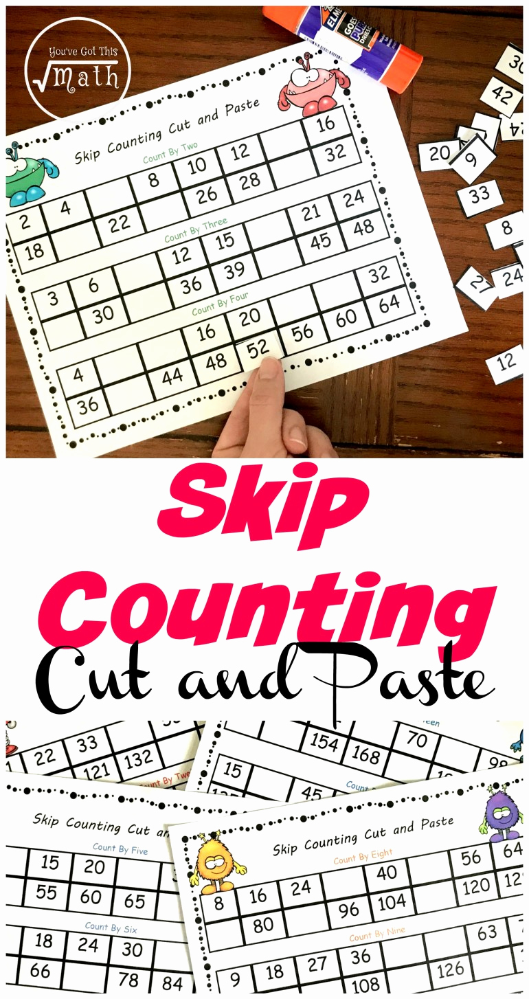 Counting Cut and Paste Worksheets Fresh 5 Cut and Paste Skip Counting Worksheets Free