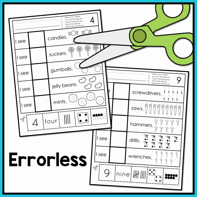 Counting Cut and Paste Worksheets Lovely Free Errorless Cut and Paste Math Worksheets Counting 1 10