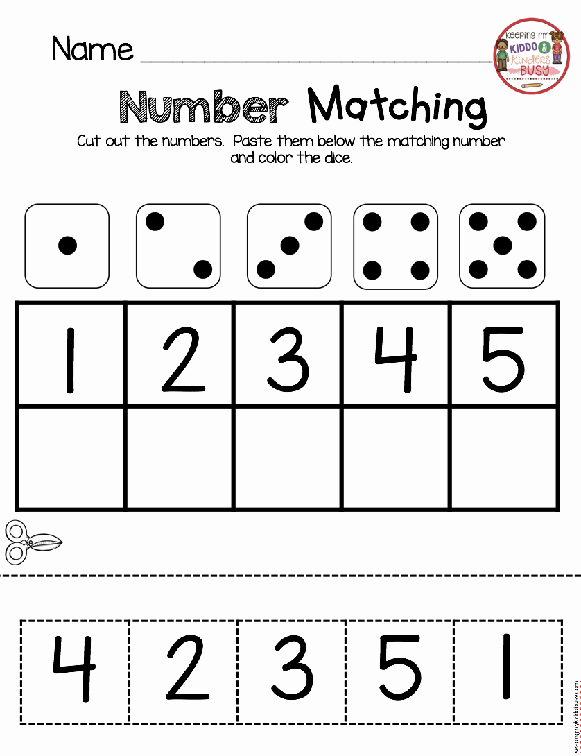 Counting Cut and Paste Worksheets New Kindergarten In August Freebies