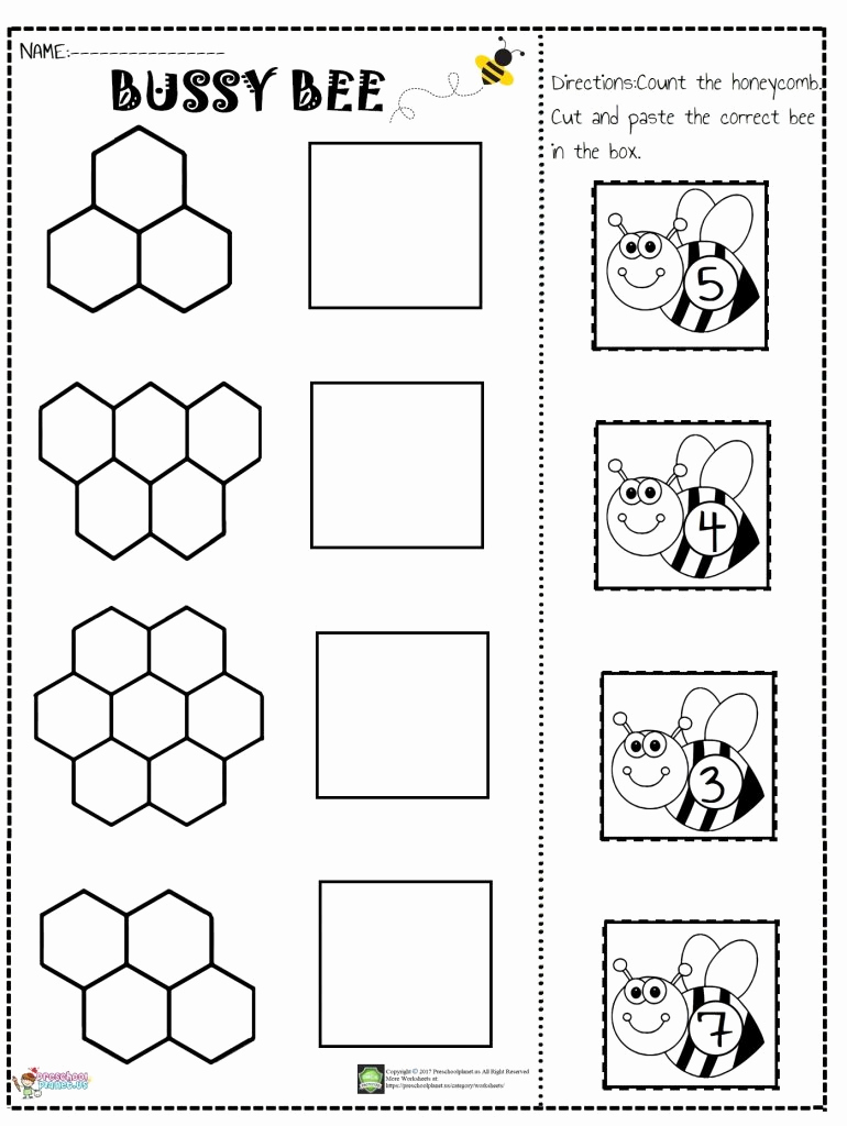 Counting Cut and Paste Worksheets Unique Bee Number Cut and Paste Worksheet – Preschoolplanet
