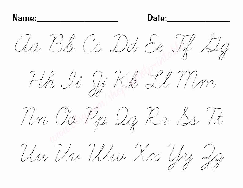 Cursive Alphabet Worksheets Pdf Awesome Cursive Alphabet Trace Worksheet Pdf Printable