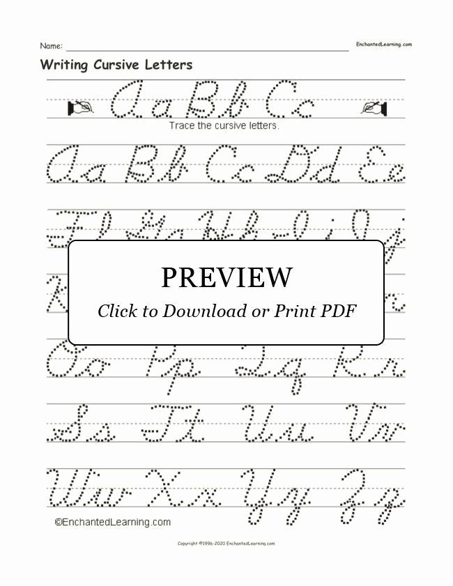 Cursive Alphabet Worksheets Pdf Inspirational Free Printable Cursive Alphabet Chart Writing Cursive