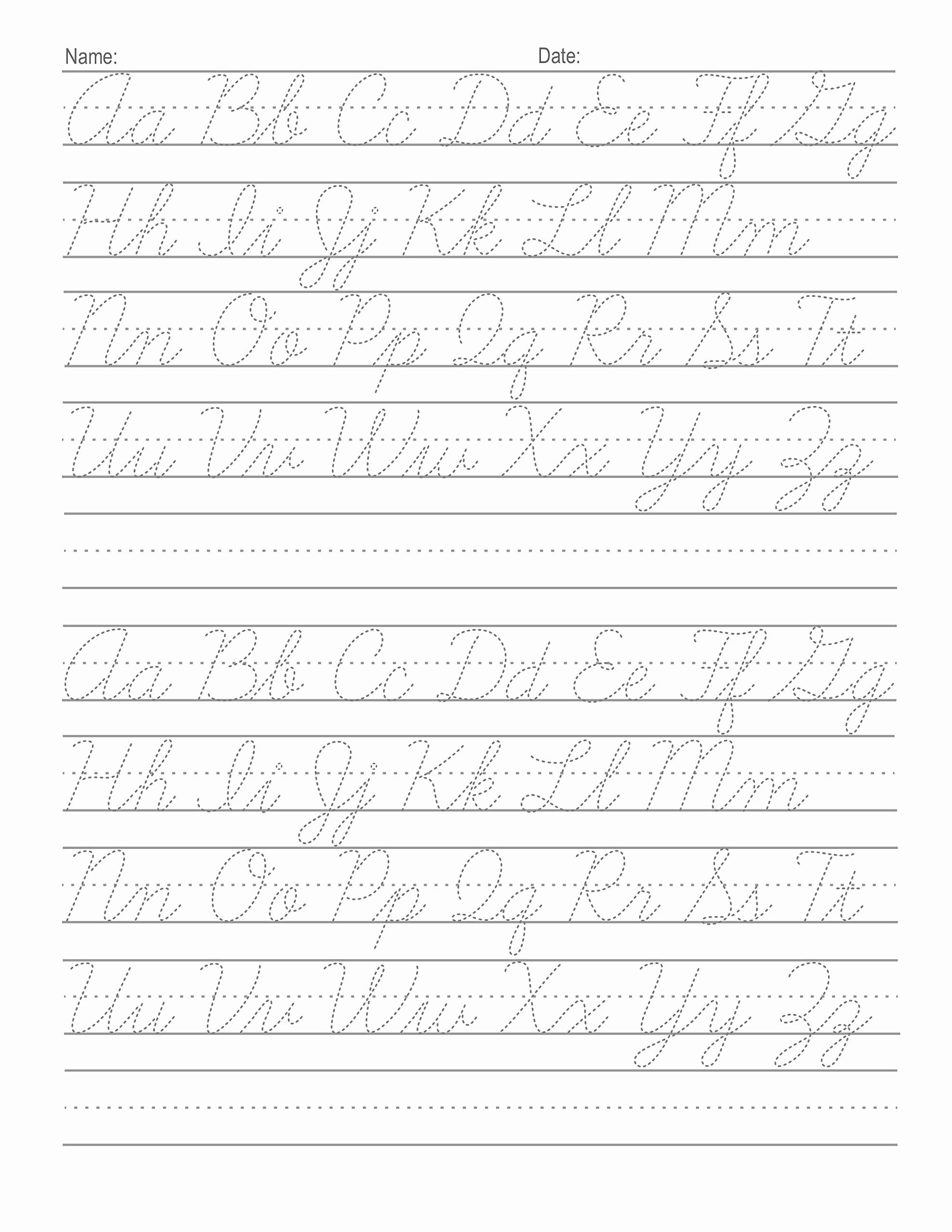 Cursive Alphabet Worksheets Pdf Luxury Cursive Alphabet Tracing Worksheets Pdf