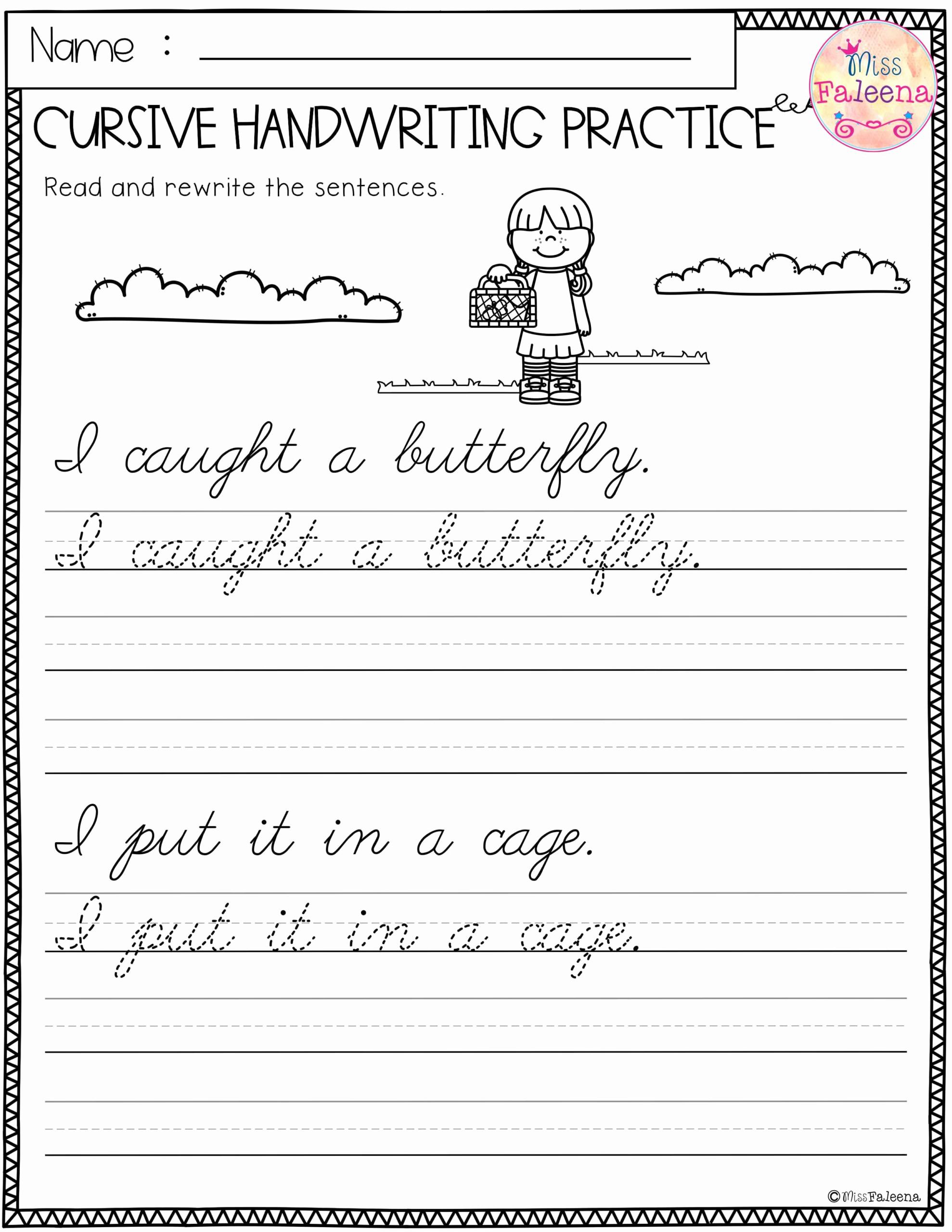 Cursive Sentences Worksheets Printable Awesome Cursive Writing Sentences Worksheets Pdf