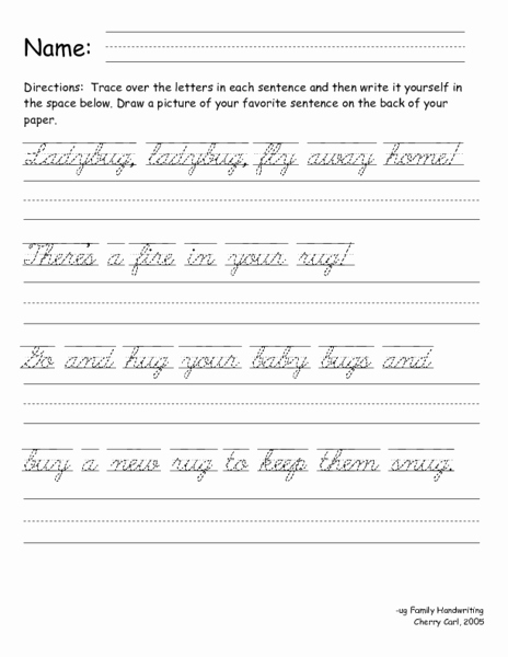Cursive Sentences Worksheets Printable Fresh Printables Of Cursive Writing Sentences Geo Kids