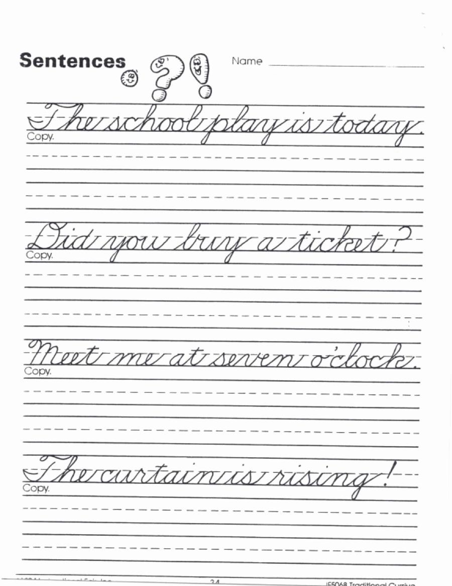 Cursive Sentences Worksheets Printable Inspirational Cursive Sentence Practice