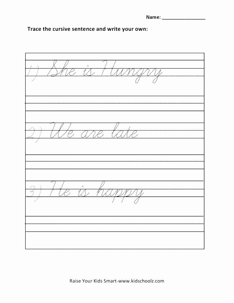 Cursive Sentences Worksheets Printable Lovely Cursive Sentences Worksheets Printable First Writing