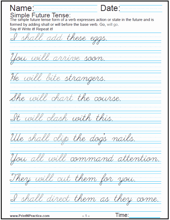 Cursive Sentences Worksheets Printable Luxury Easy Sentences In English ⭐ Past Present and Future