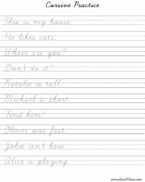 Cursive Sentences Worksheets Printable Unique Practice Cursive Writing Short Sentences