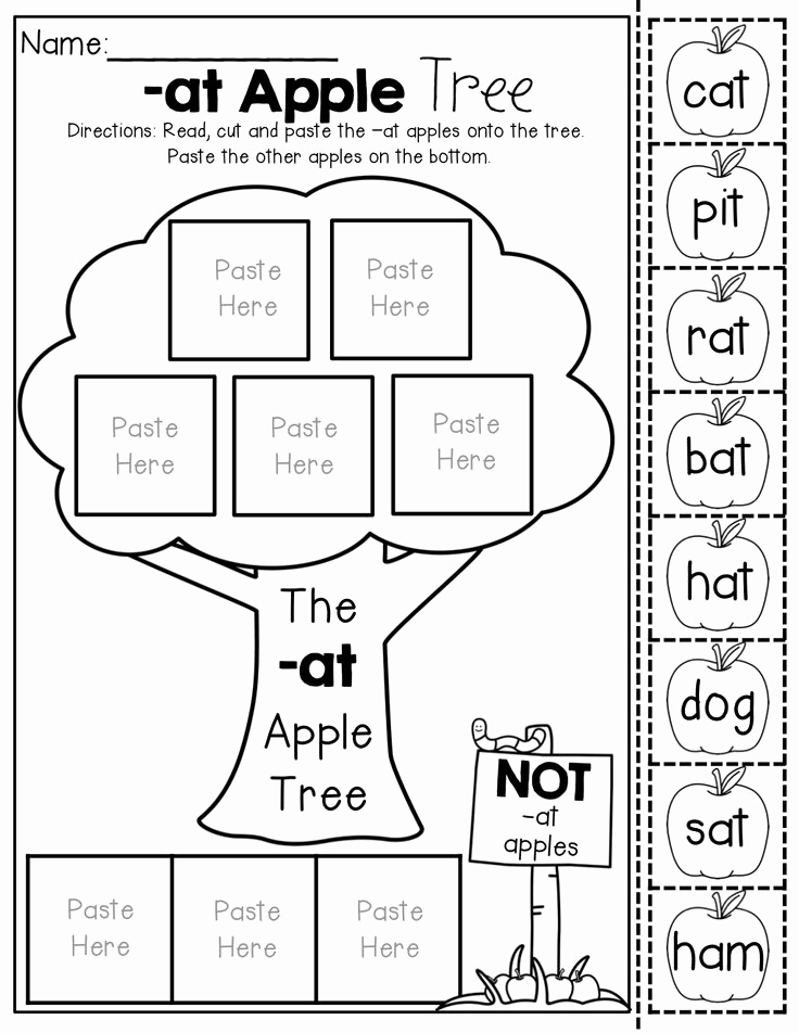 Cut and Paste Worksheets Free Elegant 15 Best Of at Word Families Worksheets Free
