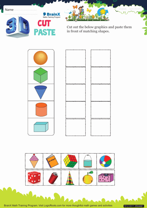 Cut and Paste Worksheets Free Lovely 3 D Cut Paste Math Worksheet for Grade 3