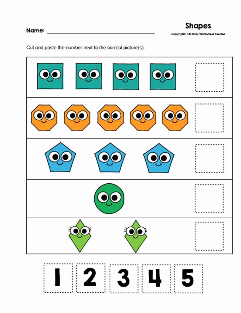 Cut and Paste Worksheets Free Lovely 30 Cut and Paste Numbers 1 5 Printable Worksheets