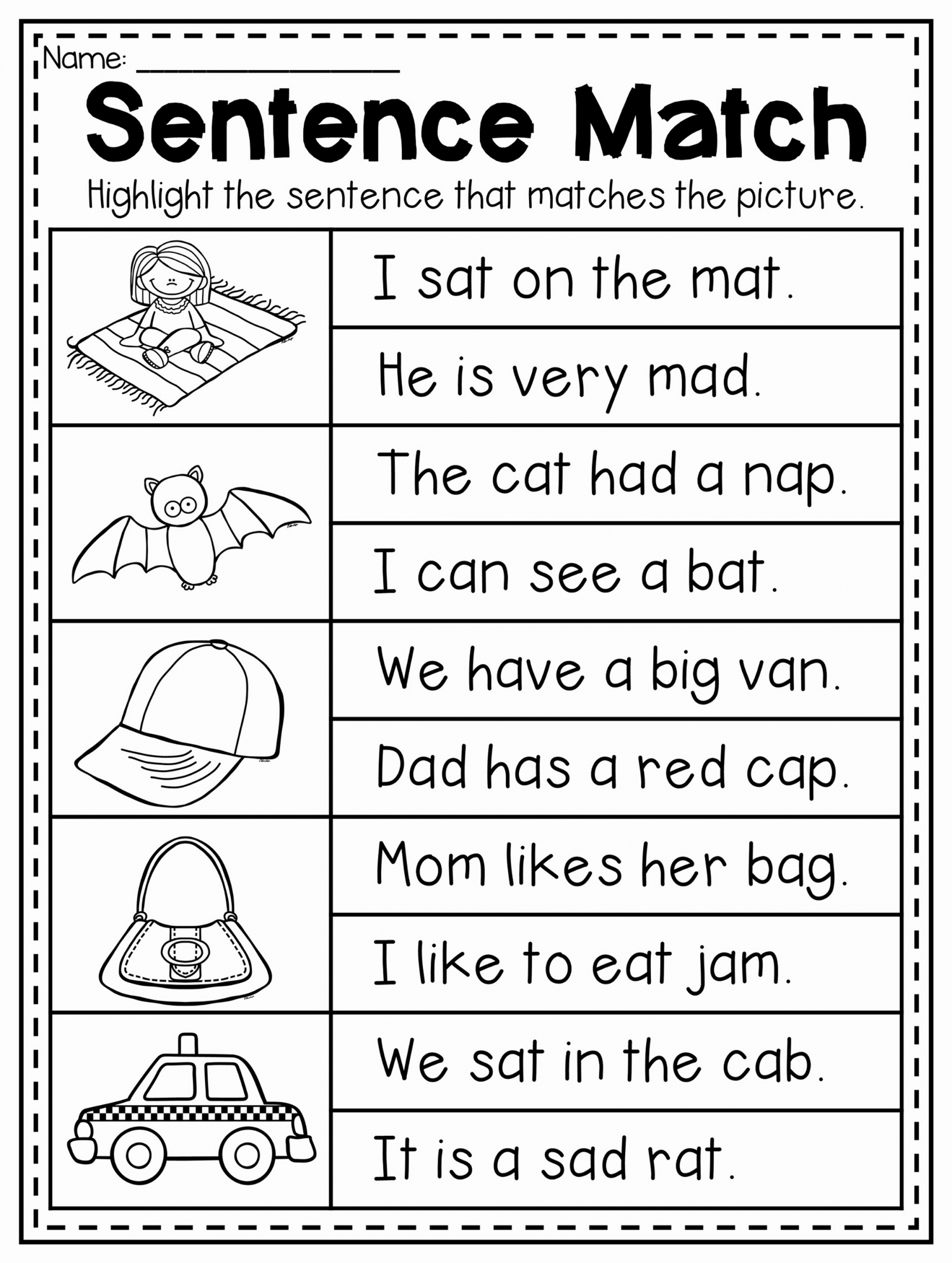 Cvc Worksheet Kindergarten Awesome Read and Match Cvc Sentence Worksheet This Packet is
