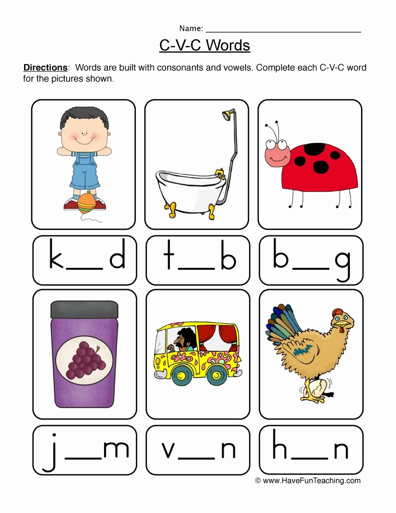 Cvc Worksheet Kindergarten Best Of Cvc Worksheet New 266 Cvc Worksheets Kindergarten