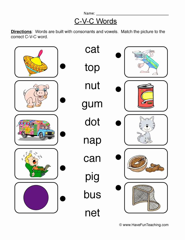 Cvc Worksheets for Kinder Fresh Cvc Worksheets