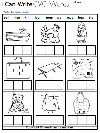 Cvc Worksheets for Kinder Fresh Free Kindergarten Cvc Writing Worksheet – Free4classrooms