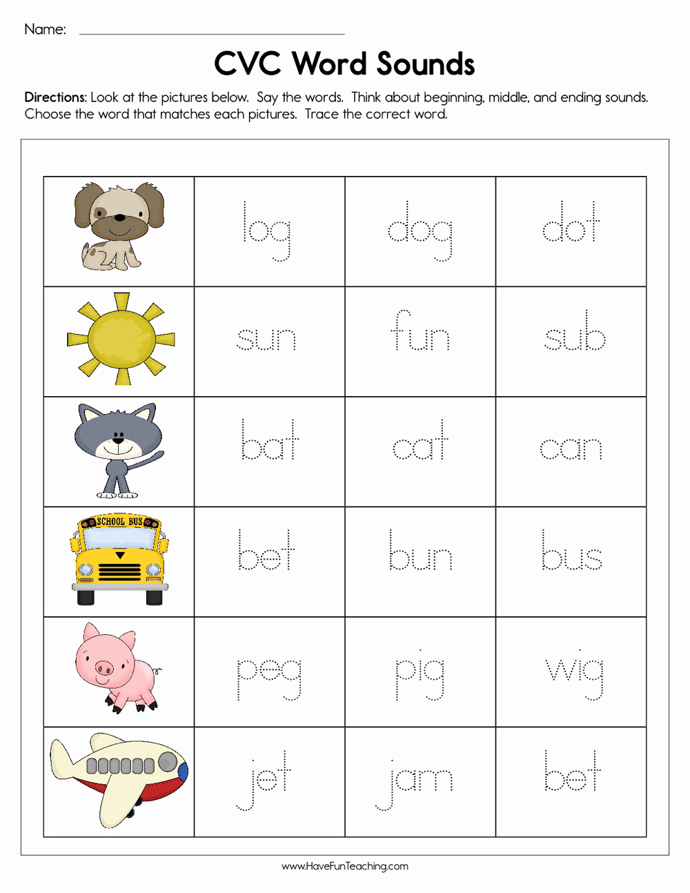 Cvc Worksheets for Kinder Inspirational Cvc Word sounds Worksheet