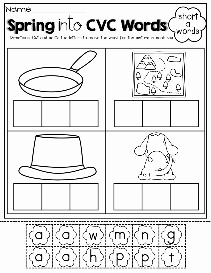 Cvc Worksheets for Kinder Lovely 16 Best Of Cut and Paste Cvc Worksheets for