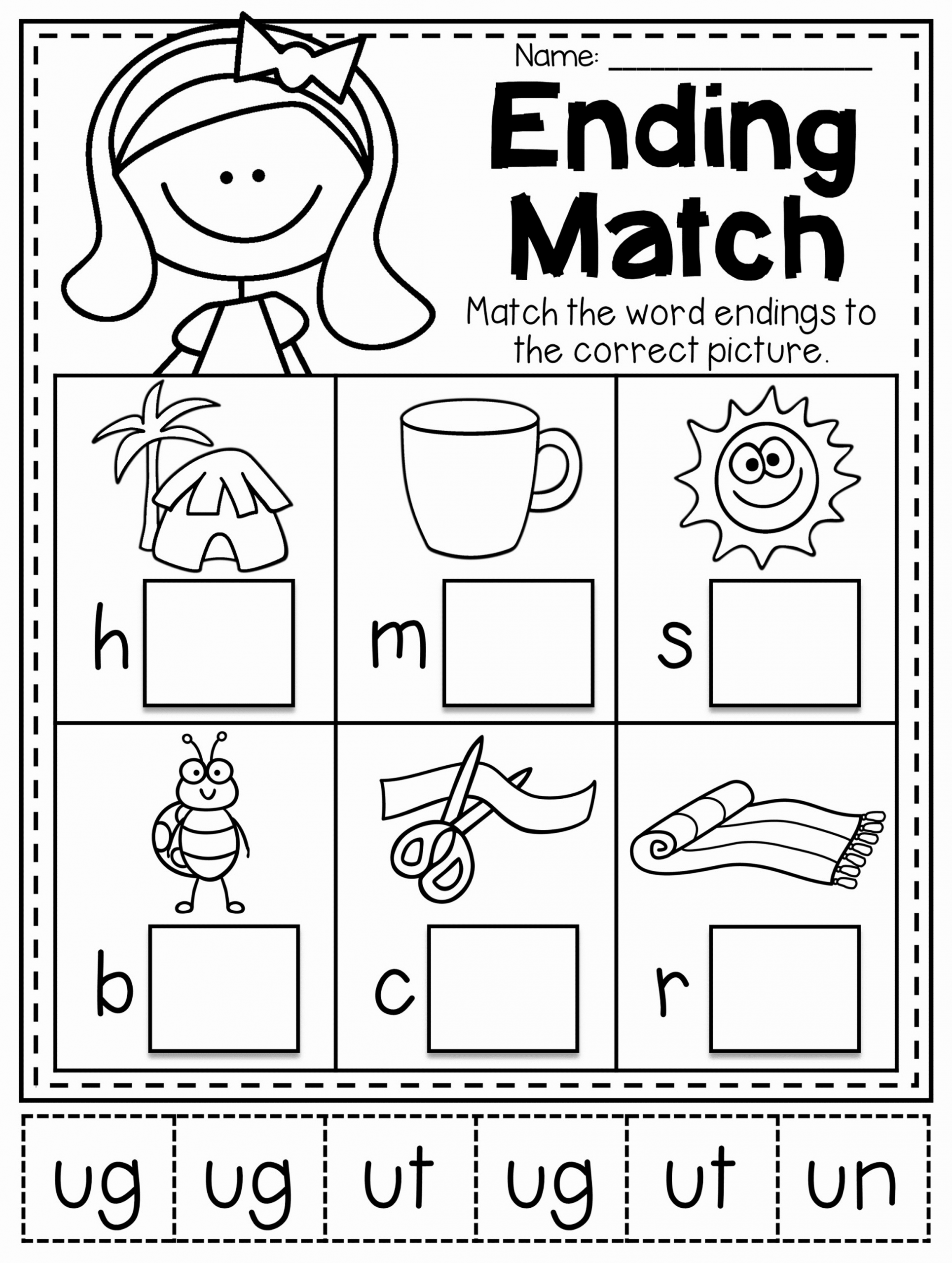 Cvc Worksheets for Kinder Lovely Ending Word Family Matching Worksheet for Short U Words