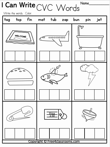 Cvc Worksheets for Kinder Unique Free Kindergarten Cvc Worksheet – Free4classrooms