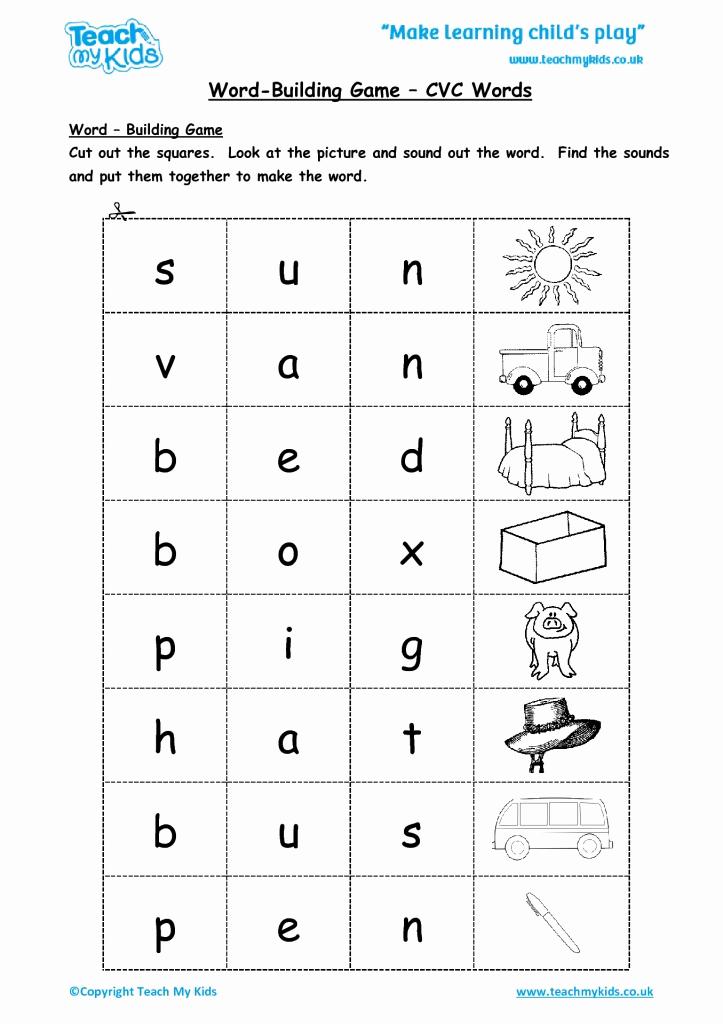 Cvc Worksheets Pdf Beautiful Word Building Game Cvc Words Tmk Education