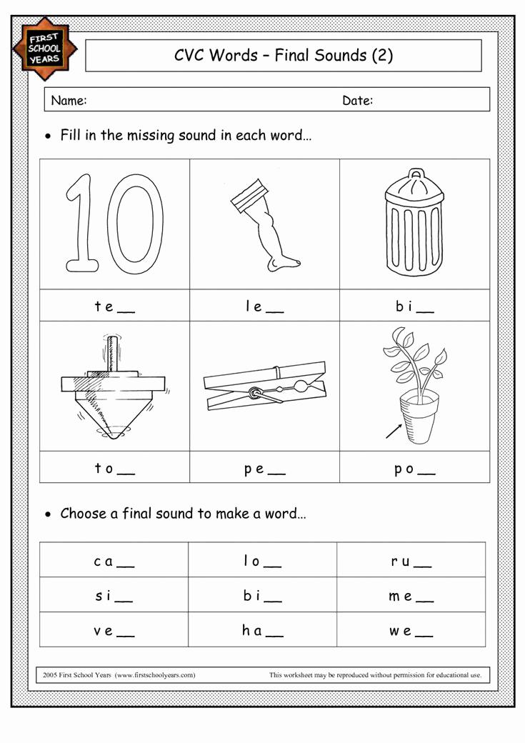 Cvc Worksheets Pdf Best Of Math Worksheets Ending sound Worksheet Cvc Words Pinterest