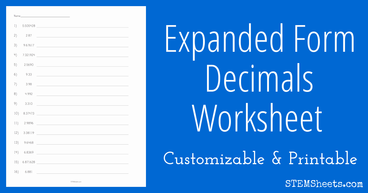 Decimal Expanded form Worksheet Beautiful Expanded form Decimals Worksheet