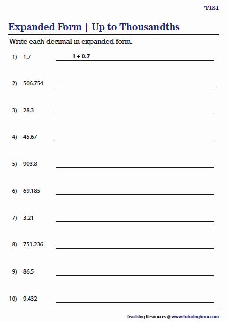 Decimal Expanded form Worksheet Best Of Decimals In Expanded form Worksheets In 2020