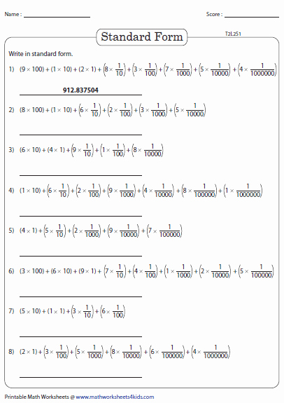 Decimal Expanded form Worksheet Best Of Expanded Product form In Decimals Up to Millionths Place