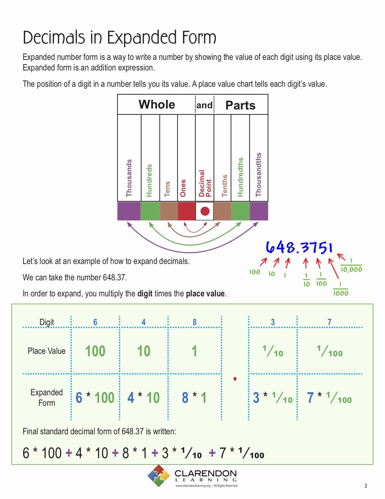 Decimal Expanded form Worksheet Elegant Decimals Expanded form Lesson Plan