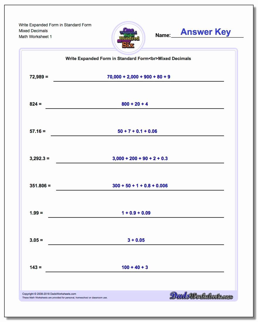 Decimal Expanded form Worksheet Elegant Write Numbers In Expanded form