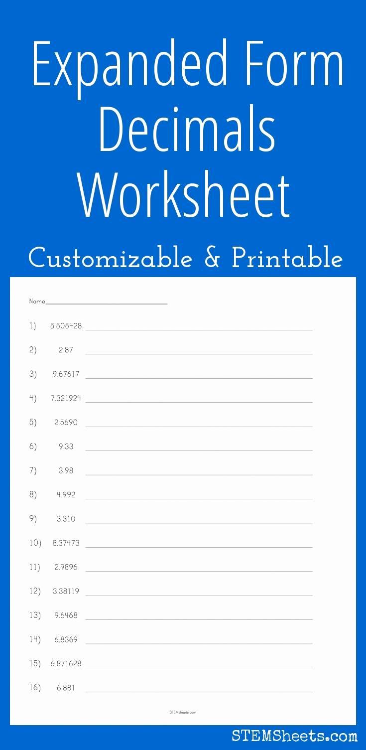 Decimal Expanded form Worksheet Fresh Expanded form Decimals Worksheet