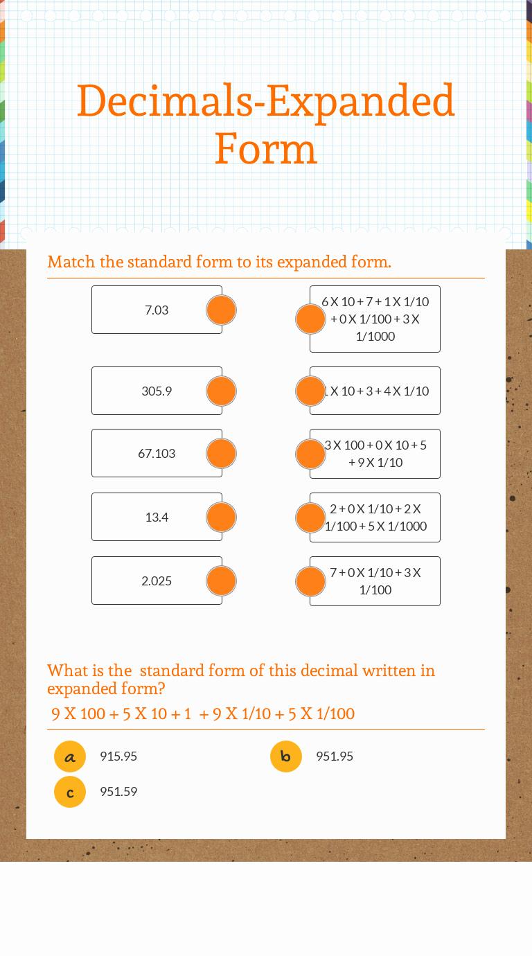 Decimal Expanded form Worksheet Inspirational Decimals Expanded form